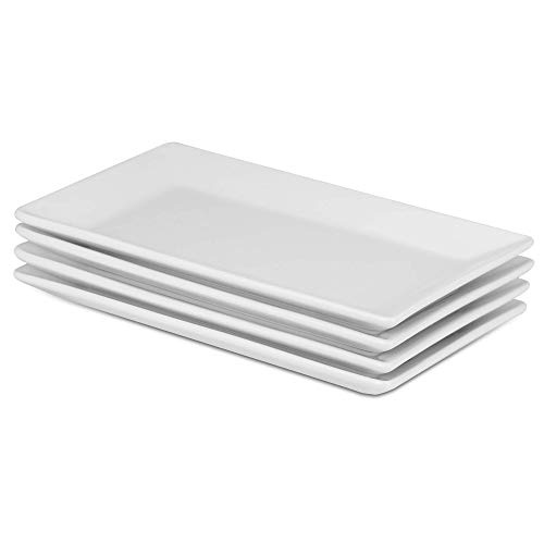 Set Of 4 Porcelain Serving Platters | High Quality White Plates | Perfect For Buffets, Deserts, Appetizers & Entrées | M&W