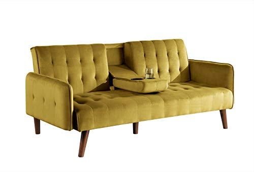 Container Furniture Direct Cricklade Convertible Sofa Bed, Yellow
