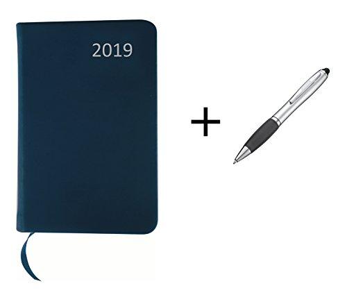 Taschenkalender 2019 / ca DIN A7 / mit PU Einband / Farbe: blau + Touchpen Kugelschreiber mit Gravur