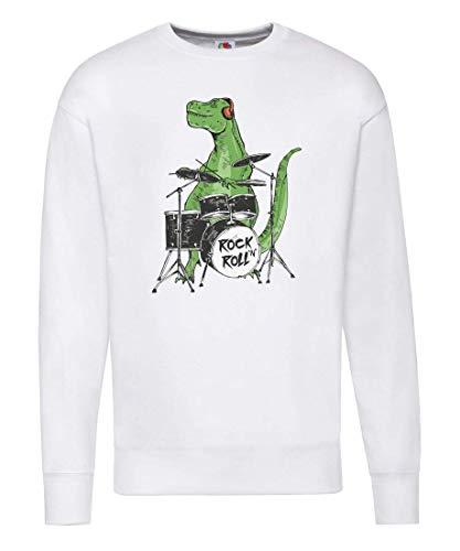 Pullover - Rock 'N' Roll Dinosaurier Schlagzeug Musik - Sweatshirt Unisex für Kinder - Junge und Mädchen
