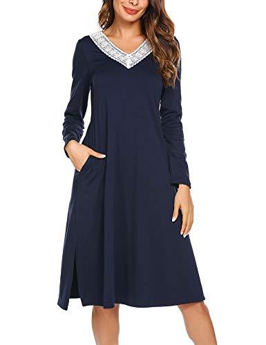 ADOME Damen Lang Nachthemd Langarm Sleepwear Spize am V-Ausschnitt Nachtkleid Still A-Linie Schlafkleid Casual Nachtwäsche Baumwolle Herbst Unterkleid blau XXL