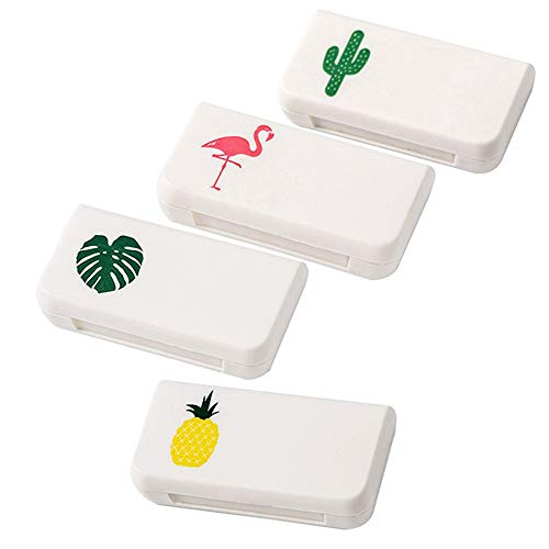 4 Piece Daily Pill Box 3 Compartments Plastic Pill Boxes Medicine Organiser Vitamin Holder for Daily Use and Travel