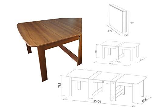 Rodnik Esstisch ausklappbar- Klapptisch - Tisch - Nussbaum - Holzoptik - Raumwunder - Küchentisch - Doppelklappentisch CK-2