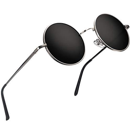 wearPro Retro Polarisiert Sonnenbrille Herren Damen Verspiegelt - Runde Retro Polarisierte Sonnenbrille Herren Damen Vintage (H-Linse:Schwarz,Gestell:Silber)