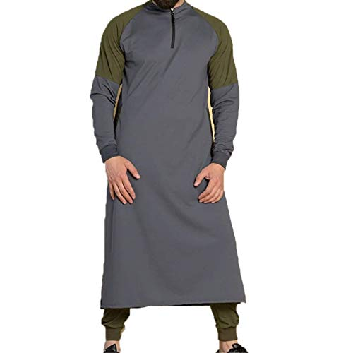 mlpeerw Muslim Dresses for Men Cotton Linen Long Sleeve Patchwork Henleys Shirt Kaftan Thobe Robe Gown Muslim Clothing (Grey, XX-Large)