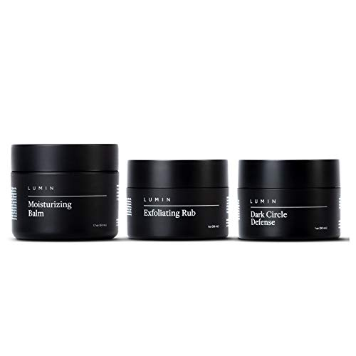 Correction Trio Collection for Men: 3 Piece Kit to Help with Tired Eyes, Dark Spots, Uneven, and Dull Skin - Includes Dark Circle Defense, Exfoliating Rub, and Moisturizing Balm - Korean Made by Lumin
