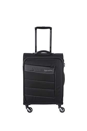 travelite 4-Rad Weichgepäck Handgepäck Koffer mit TSA Schloss erfüllt IATA-Bordgepäck Maß, Gepäck Serie KITE: Extrem leichter Trolley im sportlichen Design, 089947-01, 54 cm, 36 Liter, schwarz