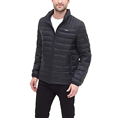 DKNY Men's Water Resistant Ultra Loft Quilted Packable Puffer Jacket, black, Medium