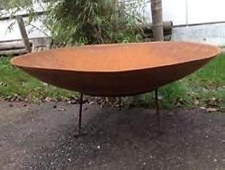 Brasero–Maceta velas oxidado 70cmrund con soporte Jardín Decoración Metal