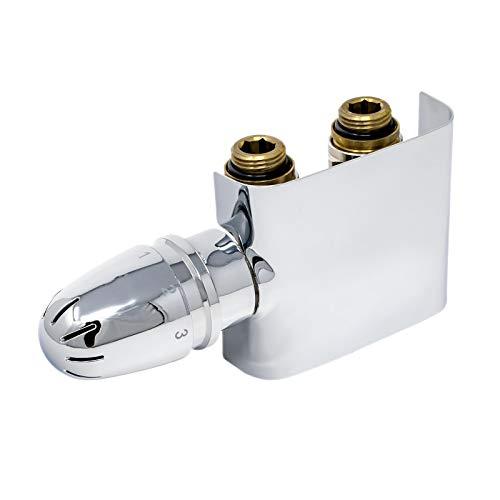 Schulte H3743002 Thermostat-Set für Heizkörper mit Mittelanschluss, Set Durchgang, Vorlauf und Rücklauf, Zweirohrsysteme, chrom