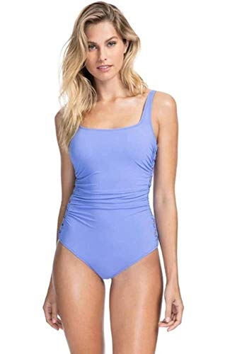 Profile by Gottex Women's Side Detail Scoop Neck One Piece Swimsuit, Date Night Lavender, 6