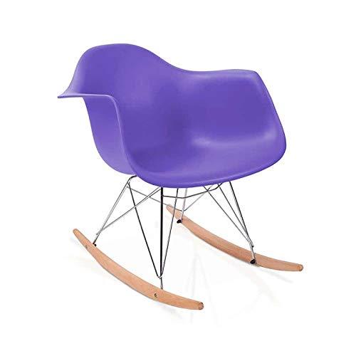 duehome Rocker - Silla Mecedora, Color Lila y Madera Haya, sillas balancin, Silla diseño nórdico, Medidas: 69,5 cm Alto x 63 cm Ancho x 65,5 cm Fondo