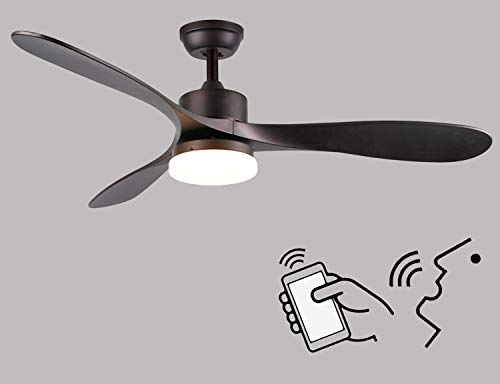52 Inch Smart Ceiling Fan with Light Work with Alexa and Google Assistant for Living Room and Bedroom, Dark Brown Finish with LED Daylight and Acrylic Lampshade.
