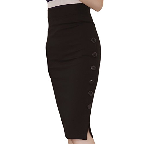 TEERFU Damen Midi Rock Stretch Figurbetont Business Bleistift Röcke Hohe Taille Stretch Figurbetont Büro Röcke