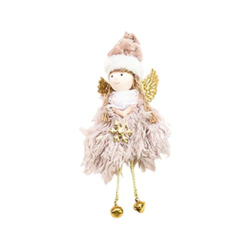 Christmas Pendant Pink Christmas Decorations Creative Cute Mini Feather Bell Angel