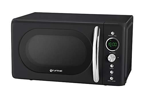 Grunkel - MW-DG N - Microondas Digital de 20l de Capacidad con diseño Vintage y 6 Niveles de Potencia. Función cocción rápida y Temporizador hasta 60 min - 700W - Negro