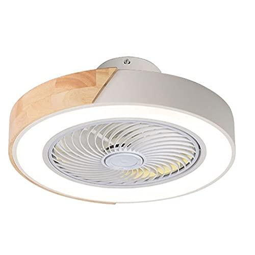 Ericsson Ventilador de techo invisible con luz, LED del mando a distancia regulable, 3 velocidades del viento, 20 pulgadas 60 W Perfil bajo Ventilador Muto (Color : Blanco)