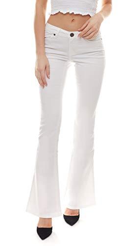 AJC Super Stretch Jeans-Hose elastische Damen Retro Schlag-Hose Sommer-Hose Freizeit-Hose Weiß, Größe:36
