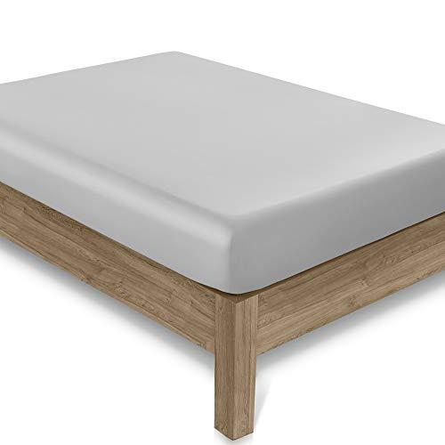 Lenzuolo con angoli 400 fili - Lenzuolo in puro cotone, design profondo con bordi elasticizzati,...