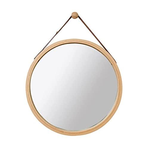 MiduoHu Espejos de baño Espejo de Pared Redondo, baño Espejo Decorativo de Madera Espejo de Dormitorio Espejo Redondo con Cuerda (Color: Amarillo, Tamaño: 45 cm * 45 cm)