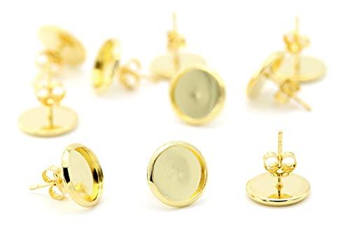 NaturSchatulle Pendientes de cabujón de 10 mm, 25 pares de pendientes dorados, para manualidades, fabricación de joyas, sin níquel (10 mm)