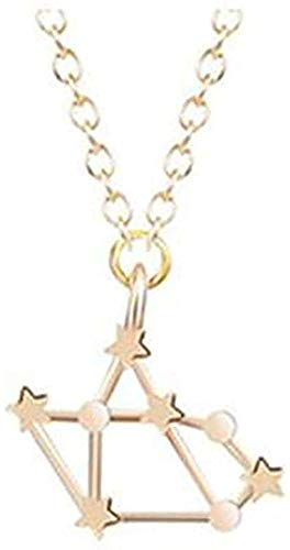 NC190 Collar de Acero Inoxidable, Collar de astrología, Zodiaco, Mujeres, 12 Constelaciones, horóscopo, Oro, Pareja, Collares, joyería para Hombres, Regalo para niñas