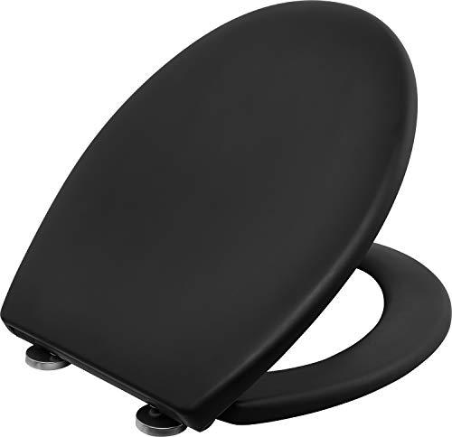 Cornat WC-Sitz Aedo - Black Edition - Pflegeleichter Duroplast - Quick up & Clean Funktion - Absenkautomatik - Bequeme Montage von oben / Toilettensitz / Klodeckel / KSMSC51