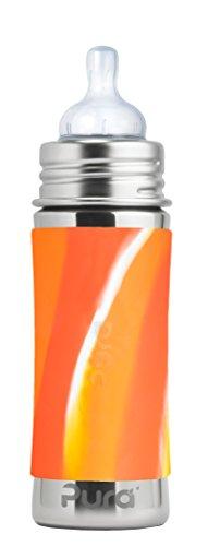 Pura Kiki Babyflasche mit Sauger, Edelstahl Sleeve Hülle, 300 ml, plastikfrei OrangeSwirl