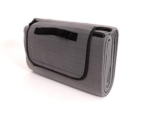 CB Home & Style Picknickdecke XXL Fleece wärmeisoliert wasserabweisend faltbar Campindecke Stranddecke (135 x 170 cm, Grau)