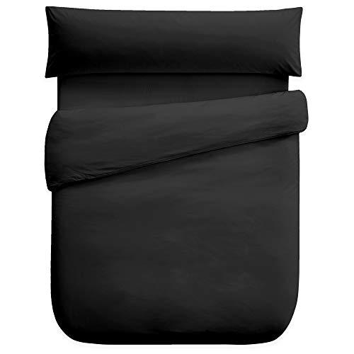 Vipalia Funda Nordica Diseño Calidad. Lisa. Juego 3 Piezas: Funda Edredon + Funda Almohada + Bajera Ajustable. Poliester. Adaptable Comoda. Color Negro. con Bajera 135 cm