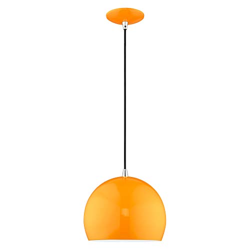Livex Lighting 41181-77 Shiny Orange 1 Lt Mini Pendant