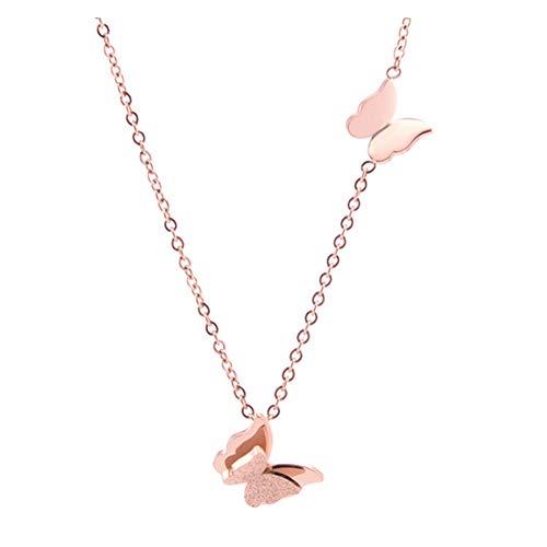 SUNSK Collar Mujer Collar con Colgante de Mariposa Oro Rosa Cadena de Clavícula de Acero Inoxidable Joyas de Moda Regalo para Mujer y Niña
