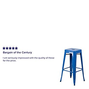Flash Furniture 4 Pk. 30'' High Backless Blue Metal Indoor-Outdoor Barstool with Square Seat