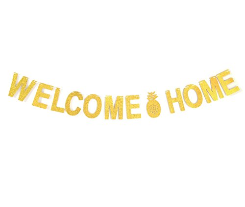 Andgo Welcome Home Gold Glitter Banner Pineapple Bunting for Home Decoration Family Party Supplies Photo Booth Props
