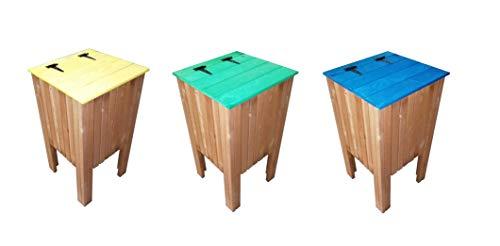 ESTRUCMADER- Pack 3 Papeleras de jardín de reciblaje Cuadrada, de Pino Color Roble