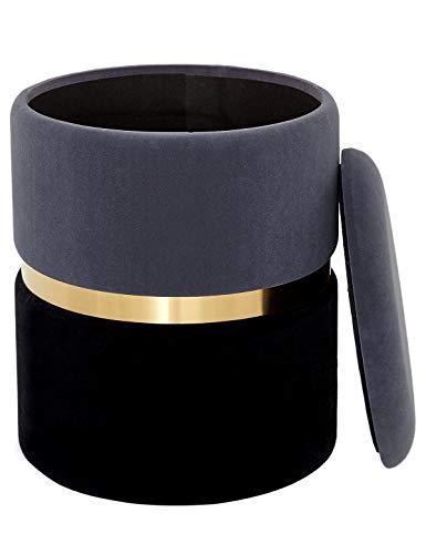 Taburete Redondo Caja de Almacenamiento Reposapiés Sofá con Tapa Baúl Puff Otomana Tapizado Asiento Moderno Tocador de Dorada para Dormitorio y Salón Terciopelo y Metall Gris + Negro