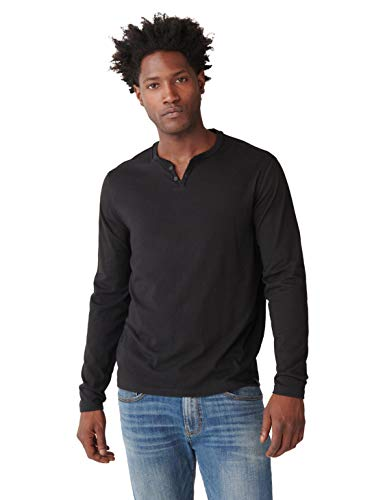 Lucky Brand Men's Long Sleeve Mineral Wash Button Notch Neck Tee Shirt, Jet Black, S