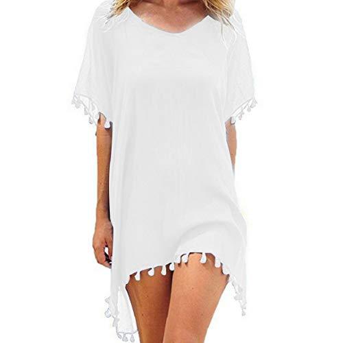 heekpek Mujer Borla Trajes de Baño Gasa Ropa de Playa Beach Bikini Cover Up Camisolas y Pareos Plus Size