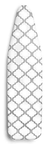 Epica Silicone Coated Ironing Board Cover Resists Scorching and Staining  15quotx54quot Board not Included Lattice: White and Grey 15quotx54quot