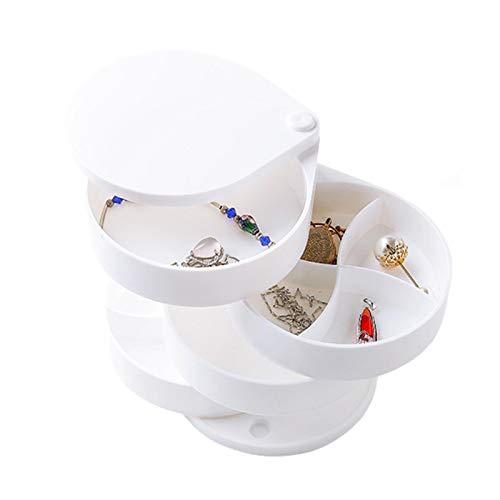 Noete Organizador de maquillaje giratorio, organizador de joyas, collar, pendientes, estilo europeo, caja de almacenamiento multicapa, para danza, dormitorio, cuarto de baño, 11,5 x 12,5 cm