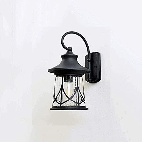 M-zen American Country Estilo Pescador Negro Cuello Cisne Al Aire Libre E27 Lámpara De Pared Creatividad Retro Lámpara De Pared Impermeable A Prueba Lluvia Vidrio De Aluminio Transparente Linterna