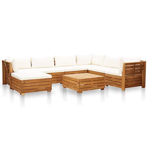 vidaXL Madera Acacia Muebles de Jardín 8 Pzas y Cojines Conjunto Exterior Patio Terraza Sofá Mesa Banco Butaca Asiento Blanco Crema