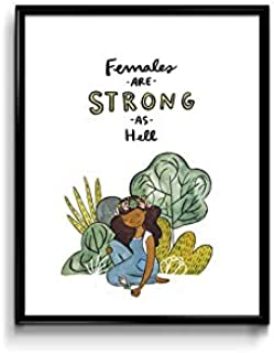 MugKD LLC Wall Art Print Females are Strong As Hell Art Print Funny Poster Gift for Men Woman [No Framed] Poster Home Art Wall Posters