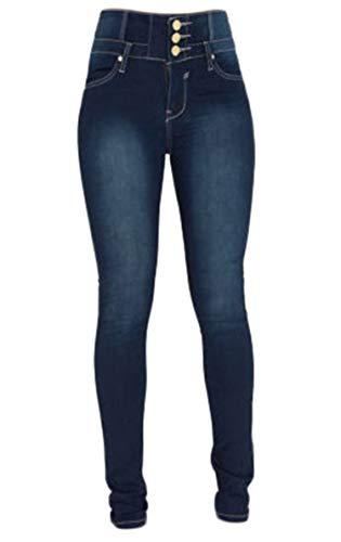 Generisch JIER Damen Jeans mit Hoher Taillemit Hoher Taille Stretch Schlank Dünn Skinny Hose Slim Fit Stretch Jeans Push Up Denim Pants Jeanshose (Blau 1,XL,XL)