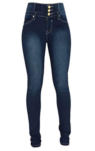 Andongnywell Women's high-Rise Slim-fit Stretch Plus Size Jeans High Waisted Sexy Skinny Denim Pants Trousers (Blue 1,X-Large)