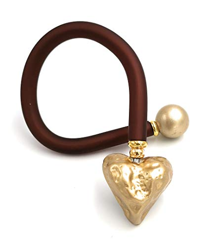 Mijn Glitterwereld armband in bruin met goudkleurig hart 25 cm vormbaar armspange armkettinkje