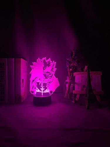 3D noche light3d ilusión LED noche luz media cara Naruto Uzumaki y Sasuke Uchiha para dormitorio decoración luz fresca anime regalo 3D lámpara de golpe color ASQWZX