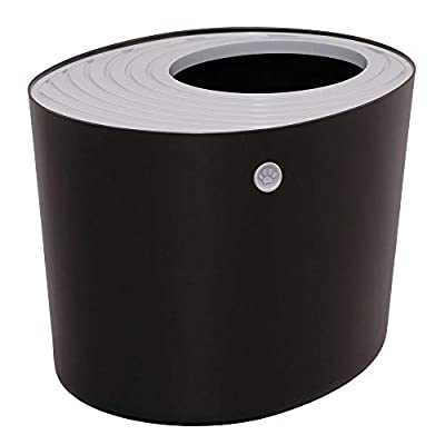 Iris Ohyama, Top Entry Cat Litter Box with grooved cover and scoop - PUNT-530 - Plastic, Black, 53 x 41 x 37 cm