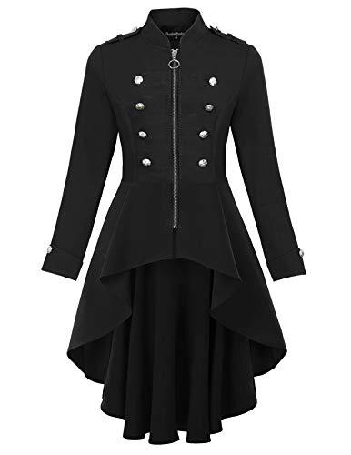 Womens Long Blazers Steam Punk Costume Renaissance Tailcoat Jacket Black L