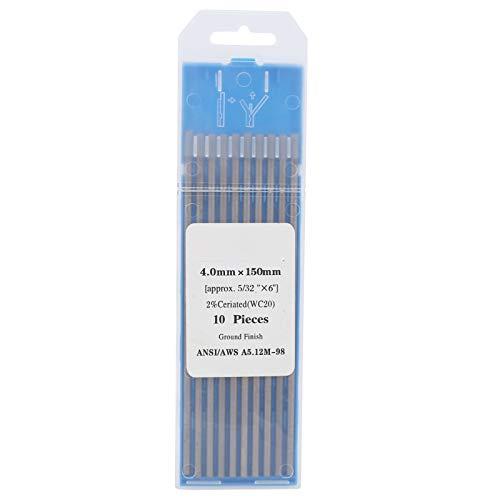 Electrodo de tungsteno de varilla de 10 piezas, aguja de arco WC20 de 4 mm para soldar, acero inoxidable fino, soldadura gris, acero inoxidable fino, gris, 4 mm/0,2 pulgadas